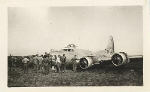 Four hours after the crash, the Service Crew had her stripped down. B-17 44-6396