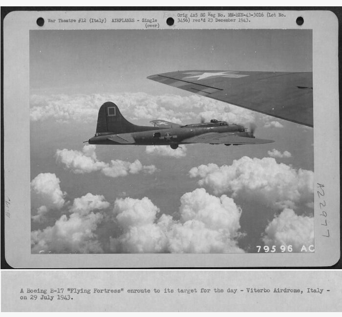 A/C 42-5145 on way to Viterbo AD, IT   29 July 1943 B-17 42-5145