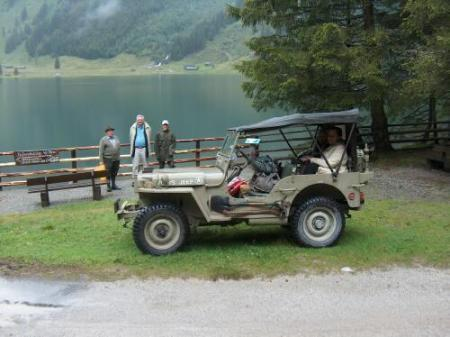 Schwarzensee, from L to R,  Franz Schnepfleitner, Doug Hillhouse, my son Jens, Mariana Hillhouse in the Jeep