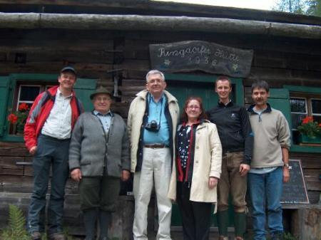 In front of the Ringdorfer Hut,  Manfred Brandner, Franz Schnepfleitner, Doug and    Mariana Hillhouse, Andreas Giselbrecht, ( the Giselbrecht Family are the owners of the hut) and Richard Pieber