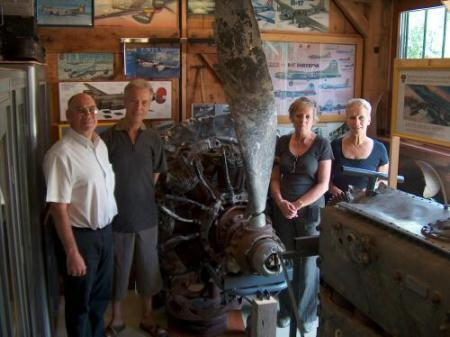 In Richard's museum - L to R - Robert Vincent, Vincents' Friends Brian and Barbara, Sally   Vincent Sunday 10 August
