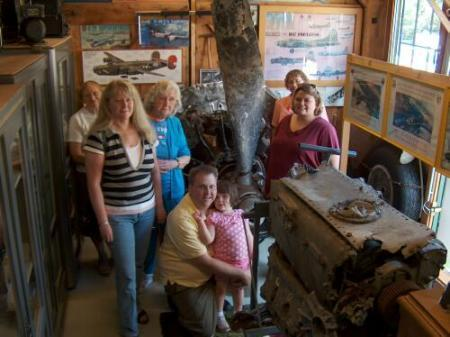 In Richard's museum - L to R - Roni Dau, Diane and Marge Tetens, Chris, Marissa, Tina   Haglund, Wiebke Heider, Sunday 10 August