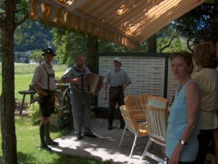 Richard's father, Friedolin and Manfred Brandner make Austrian country music for his guests