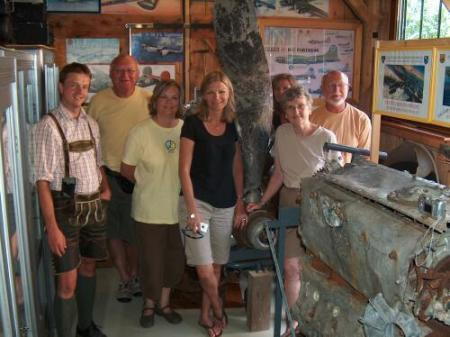 In Richard's museum - L to R - Manfred Brandner, Patrick and Sheryl Boedigheimer, Tracy   Kinn, Michaela Boedigheimer, Linda and Dan Boedigheimer