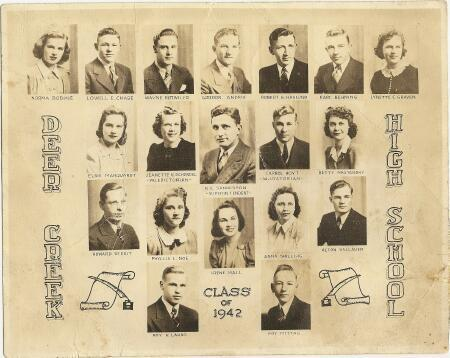 Robert's H. S. Graduation Class. Robert is in top row, 3 from right