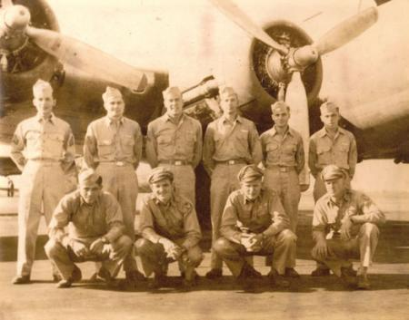 L to R 1st row: Orlando Palesse, C P; Dutton Nav.   (KIA); Dick Sorenson, pilot; Trumbo, Bomb. 2nd Row L to R: Calev, R/O;   MacNeill; Eng; John Kurland; George Patton; Wright, Gunners;  Plummer, BT; and Stoneburner.
