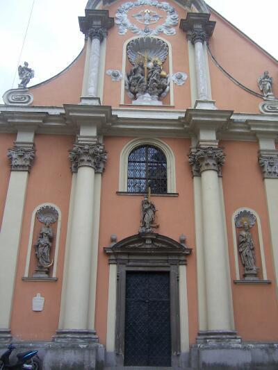 Beautiful facade of a church near the city center