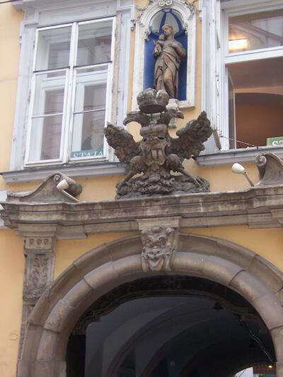 The splendid crowned double headed eagle over the entrance to this building