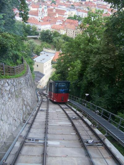 The Schlossbergbahn car ( funicular railway ) passes the car coming down from the top of The Schlossberg