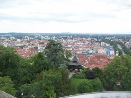 The view from the Schlossberg of Graz