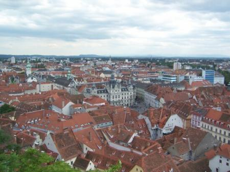 The older part of the city is marked by the red tile roofs in the city center