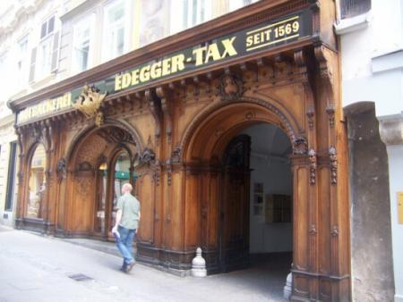 This is the Edegger-Tax Bakery with the splendid wooden shop facade. It's been in business since 1569