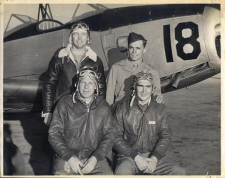 PT-26 training at Waco    Back Row - F. Byerly  Instructor Hixon - Front Row Lt. J W Hamilton  - F J Harkins