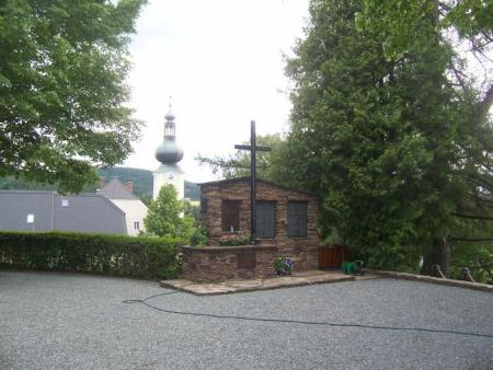War Memorial with 800 year old Church of St. Jakob im Walde in background