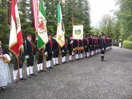 The Veterans Associations'  Honor Guard stand at attention