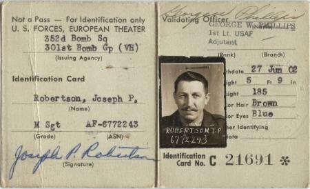 Identification Card - 301st BG, Army Air Corps Library and Museum