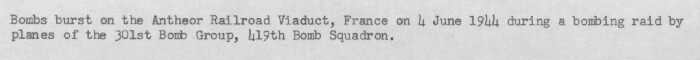 301st Bombardment Group Mission to Antheor  France  -VD on 06/04/1944