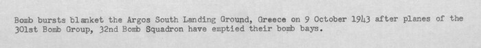 301st Bombardment Group Mission to Argos  Greece  - LG on 10/09/1943