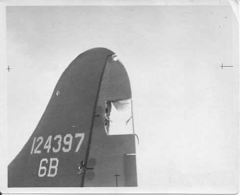 Phyliss's tail on 10/3/1942 after crash landing at RAF Gatwick 10/2/1942 - 301st BG, Army Air Corps Library and Museum