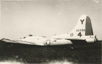 A/C 44-6396 was the first aircraft Fred flew a mission in February 8, 1945. In March 1945, it crash landed on return from another mission with another crew. - 301st BG, Army Air Corps Library and Museum