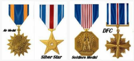 <b>Air Medal ___    Silver Star  ___    Soldier's Medal   ___      DFC Awards and Decorations