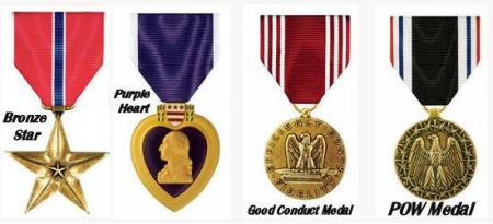 Bronze Star  ___    Purple Heart  ___     Good Conduct  ___     POW  Awards and Decorations
