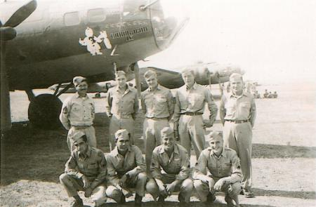 T/Sgt. Simrak stands in the back row - far left, William Gould back row, center (3rd from left).  Photo taken 18 Oct 1943 - 301st BG, Army Air Corps Library and Museum