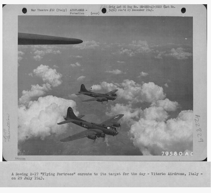 301st Bombardment Group Mission to Viterbo  Italy  - A/D on 07/29/1943