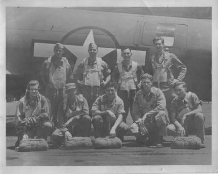 Back Row:  Lt. Norbert F. Moore  C-P; Lt. Morton L. Wax Bomb; Lt. John W. Smith P; Sgt. Edward V. Noritis WG; 