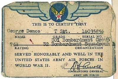 Certificate of Honorable Service - 301st BG, Army Air Corps Library and Museum