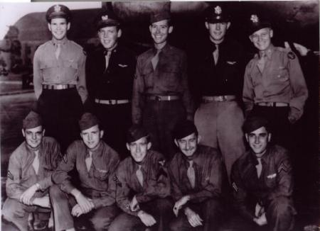 Lt. Bob Derry's crew at Mac Dill Field in October 1944.  Fred is in front row far right.Front Row L to R: Sgt. Robert L. Conley, WG; S/Sgt. Olin T.Clardy, R/O; Sgt. Eskel B. Blair, Eng.; S/Sgt. Leslie W. Griffiths, BT; S/Sgt. Fredrick L. Keener, WG.