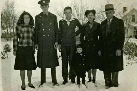 Glenn Doerr is the tallest, standing second to the left, wearing a uniform - 301st BG, Army Air Corps Library and Museum