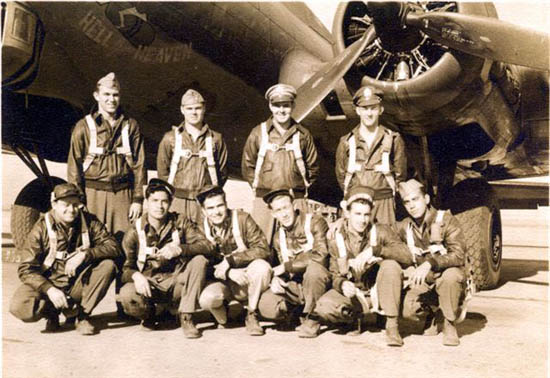 This is my original crew. All with the exception of one ( second from right, bottom row ) were 32nd squadron members. Photo was taken just before we shipped to Casablanca, Africa.  November 1943 ? Back row starting from the left. William Epps, Pilot, Lyman Whitney, co-pilot, Robert Sullivan, Navigator, Tompkins, Bombardier Do not remember his first name as I lost my crew list. Bottom row starting from the left. John Wheeler, Engineer, Alfoso Chavez, Waist gunner, Robert  ? Radioman, Thomas Wages, Waist gunner, Herb Lewis, Tail Gunner, was taken ill just before we shipped out. Joseph Mangano, Armament. Was to be a waist gunner but I volunteered to be a ball turret gunner and as a result flew with random crews as there was a need for ball turret gunners. - 301st BG, Army Air Corps Library and Museum