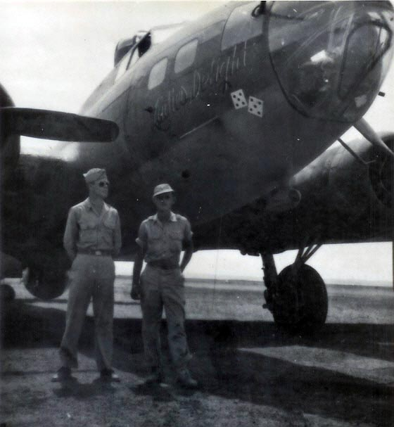 Ladies Delight A/C 42-30136, in North Africa in 1943. Graham on the right. - 301st BG, Army Air Corps Library and Museum