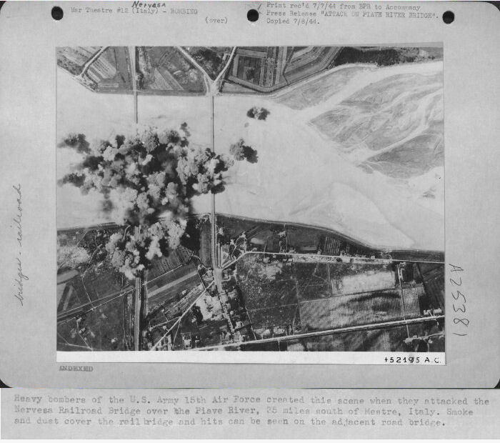 301st Bombardment Group Mission to Nervesa Italy  - RR Bridge on 04/15/1945