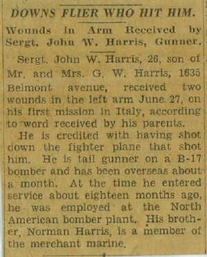 Newspaper clipping from John's home newspaper. - 301st BG, Army Air Corps Library and Museum
