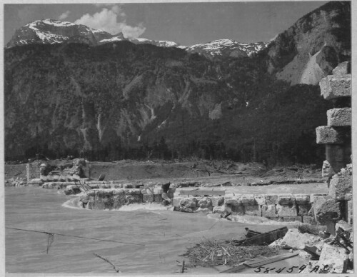 <p><b>Completely demolished bridge at Rattenberg Austria. April 1945</p> 301st Bombardment Group Mission to Rattenburg  Austria  - RR Bridge on 04/19/1945