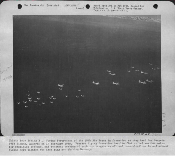<p>On the way to Vienna</p><br> 301st Bombardment Group Mission to Vienna Austria  - Ord on 02/13/1945