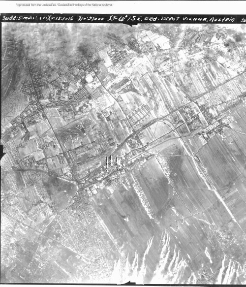 <p>Strike Photo 2-13-1945 Vienna Ordinance Depot</p><br> 301st Bombardment Group Mission to Vienna Austria  - Ord on 02/13/1945