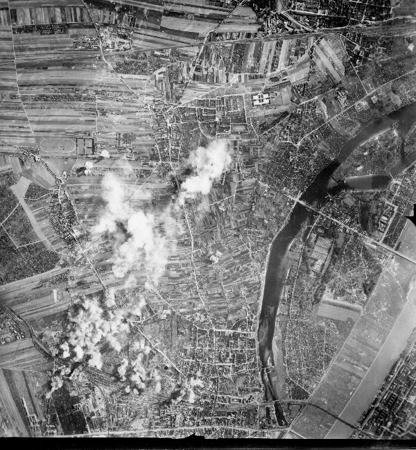 Pancevo R. R. Bridge  301st Bombardment Group Mission to Belgrade  Yugoslavia  RR Br on 09/03/1944